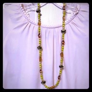 2/$20 yellow/green/copper bead necklace NWOT